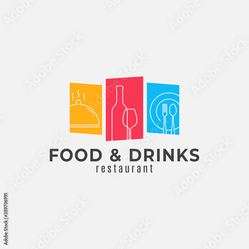 Valokuva Food and drinks logo. Wine bottle glass with plate