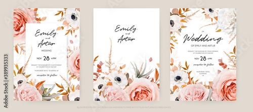 Fotografija Vector floral autumn wedding invite card template set