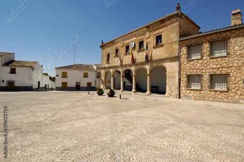 Fotografia, Obraz Infante Don Juan Manuel square, Alarcon, Cuenca province, La Mancha, Spain