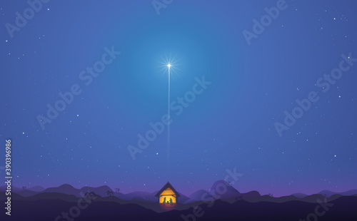 Leinwand Poster Shining star landscape above the nativity scene in bethlehem in the middle of th