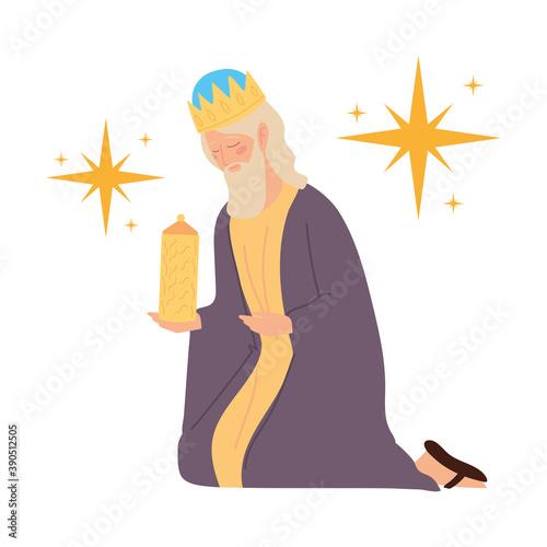 Fotografia nativity, manger caspar wise king with gift cartoon