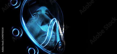 Stampa su Tela Futuristic astronaut in a spacesuit
