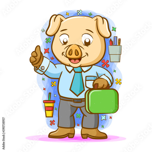 Canvas Print The daddy pig working and using the shirt with blue tie