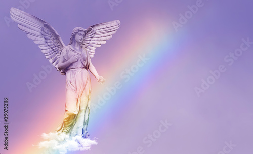 Fotografija Beautiful Angel Walking On Clouds with rainbow