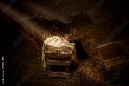 Fototapeta Jesus doll in the manger with christmas
