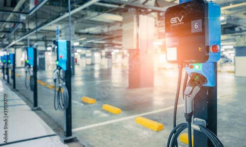 Obraz na płótnie Electric car charging station for charge EV battery