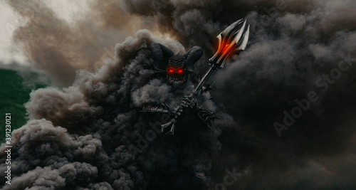 Photo Mutant warrior stands and holds mace against a background of black smoke