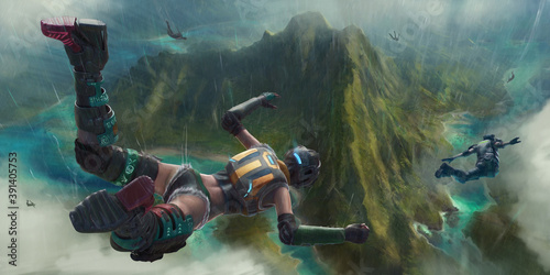Leinwand Poster Heroic players parachute into the chaotic action of a virtual battlefield below