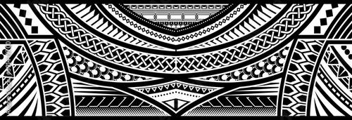 Art tattoo sleeve in polynesian border