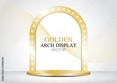 Billede på lærred golden lightbulb arch display 3D illustration vector for putting your object