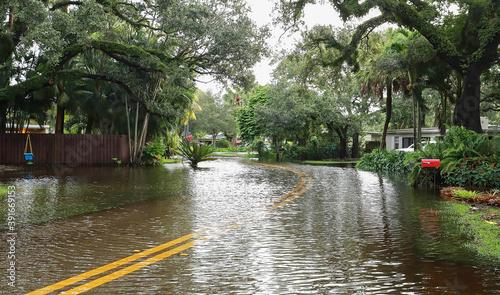 Fotografia Fort Lauderdale residential neighborhood street floods from Tropical Storm Eta