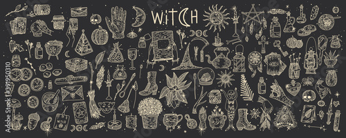 Obraz na plátně Supernatural magic collection of magical elements