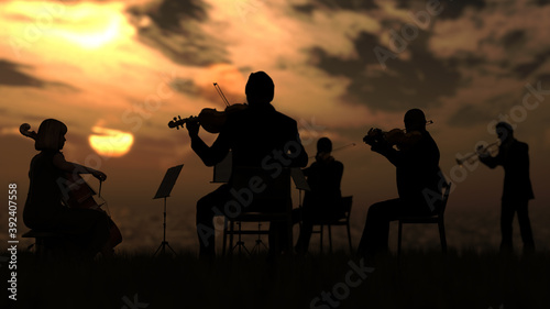 Stampa su Tela Group of musicians in orchestra playing outdoor under sunset and sea 3d renderin