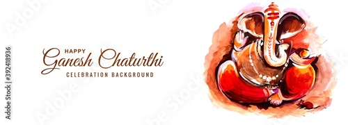 Canvas Print Indian Religious Festival Ganesh Chaturthi Banner Background