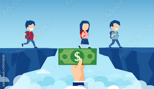 Foto Vector of a businessman hand holding a dollar banknote bridging the gap in prima