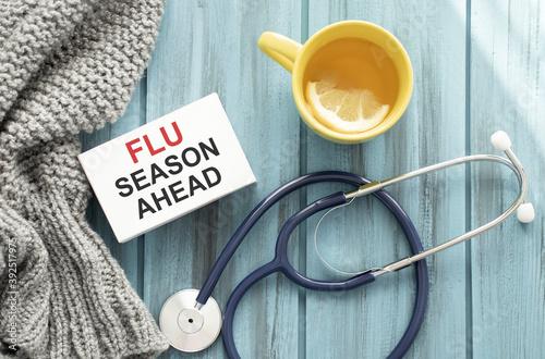 Fotografia, Obraz Concept words Flu season ahead