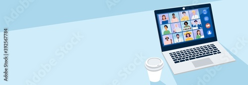 Photo Virtual meeting concept, People having video conference with their colleagues at home