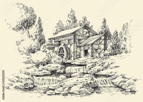 Obraz na płótnie Watermill and river idyllic landscape hand drawing