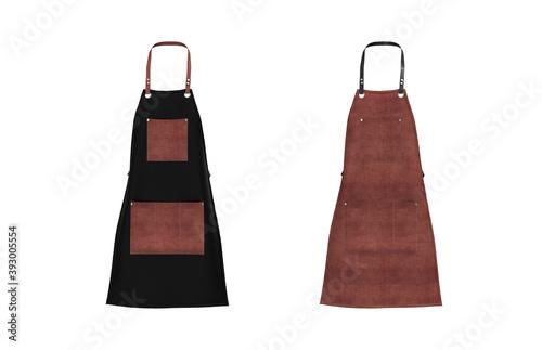 Foto Blank  leather apron mockup, clean apron, design presentation for print, 3d illu