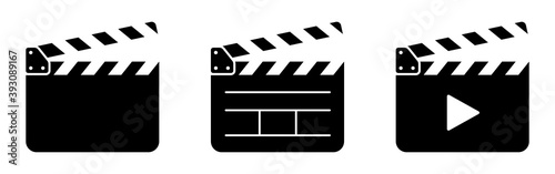 Valokuva Clapper board set. Open movie clapper vector