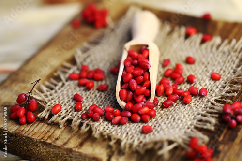 Canvas Print Selective focus. Macro. Barberry berries in a wooden spatula.