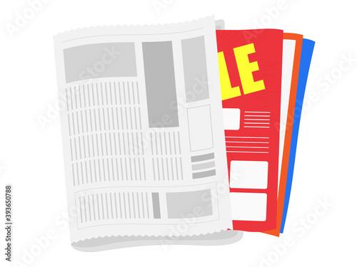 Foto 新聞と折込チラシのイラスト
