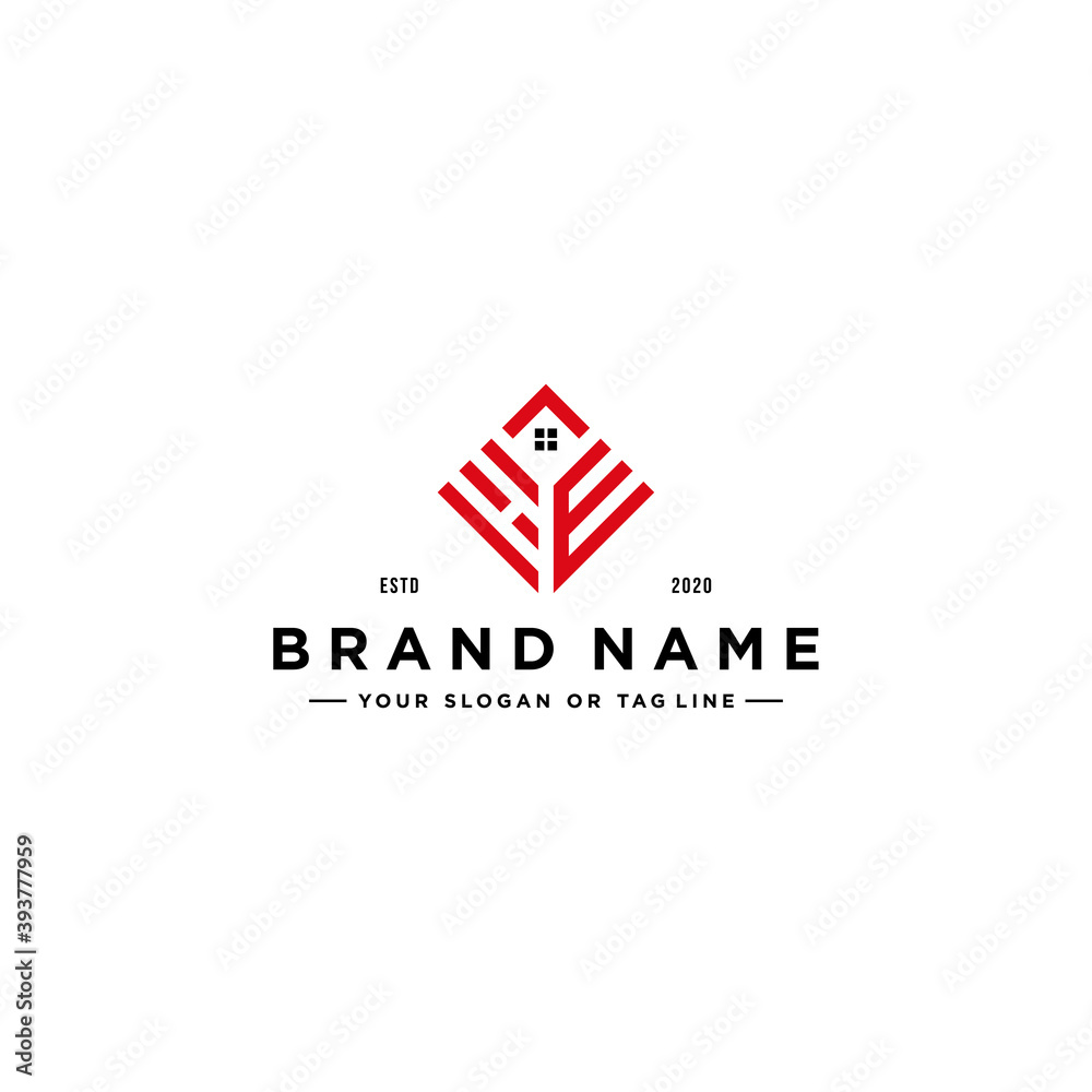 Obraz letter HE square with roof house Logo design concept vector fototapeta, plakat