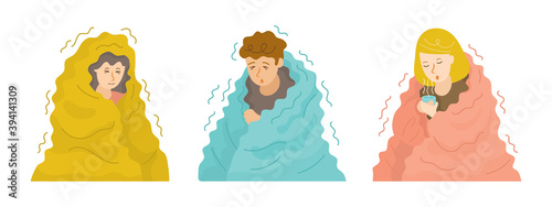 Photo People Shivering under Blanket Set in Cold Weather and Winter Season