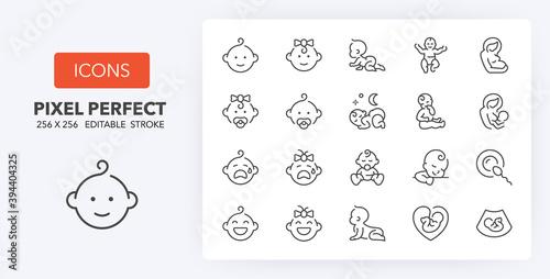 baby 1 line icons 256 x 256 Fototapet