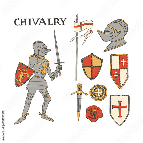 Carta da parati Medieval knight with a sword and shield