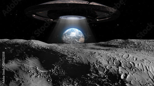 Photo 3d rendering-Flying saucer ufo heading toward Earth from the moon