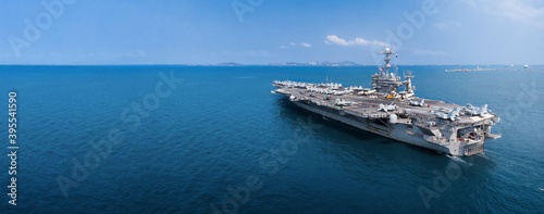 Fotografía Nuclear ship, Military navy ship carrier full loading fighter jet aircraft for prepare troops
