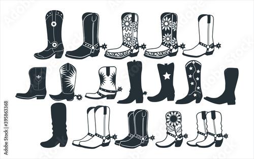 assorted cowboy boots vector graphic design template set for sticker, decoration Fototapet
