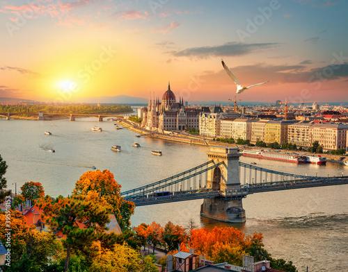 Fotografia, Obraz Sunset over Budapest