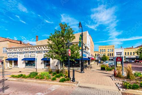 Canvas Print Street view in Woodstock Town of Illinois