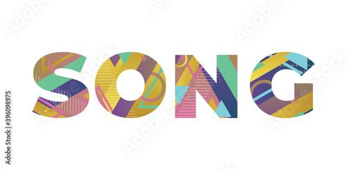 Song Concept Retro Colorful Word Art Illustration Fotobehang