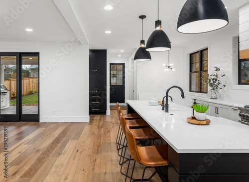 Fototapeta Beautiful kitchen in new home