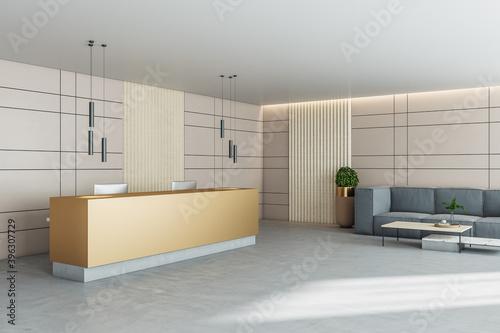 Luxury office hall with reception desk and  gray sofa Fototapeta