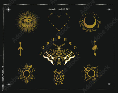 Wallpaper Mural magic witch symbols: moon, moth, eye, sun, 666, heart, occult witchcraft