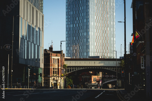 Canvas Print A deserted Deansgate in Manchester city centre during the Summer lockdown of 2020