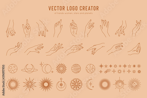 Obraz na płótnie Vector logo creator of linear hand gestures, moon phases, stars, sun and planets