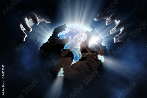 Carta da parati God rebuilding the old sickly earth into a new healthy world