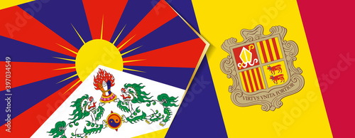 Fotografiet Tibet and Andorra flags, two vector flags.