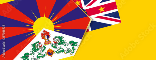 Foto Tibet and Niue flags, two vector flags.