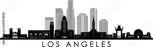 Fotografie, Obraz LOS ANGELES California SKYLINE City Silhouette