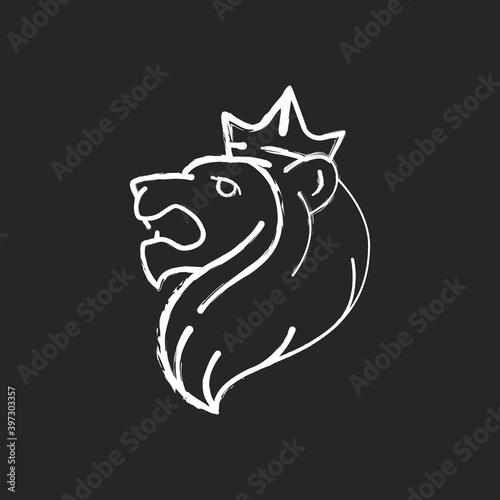Canvas Print Judah Lion chalk white icon on black background
