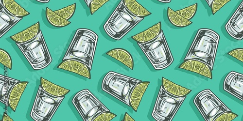 Fotografia Pattern wallpaper of cocktail tequila with lime bar design