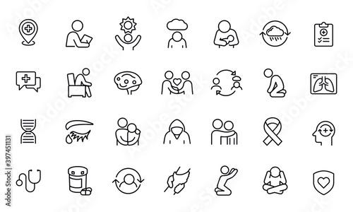 Obraz na plátně Mental Illness Thin Line Icons