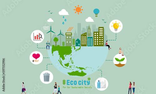 Fotografia Ecology life, eco city vector banner illustration ( ecology concept , nature con