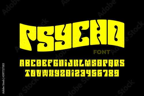 фотография Psychedelic style font design, 1960s alphabet letters and numbers